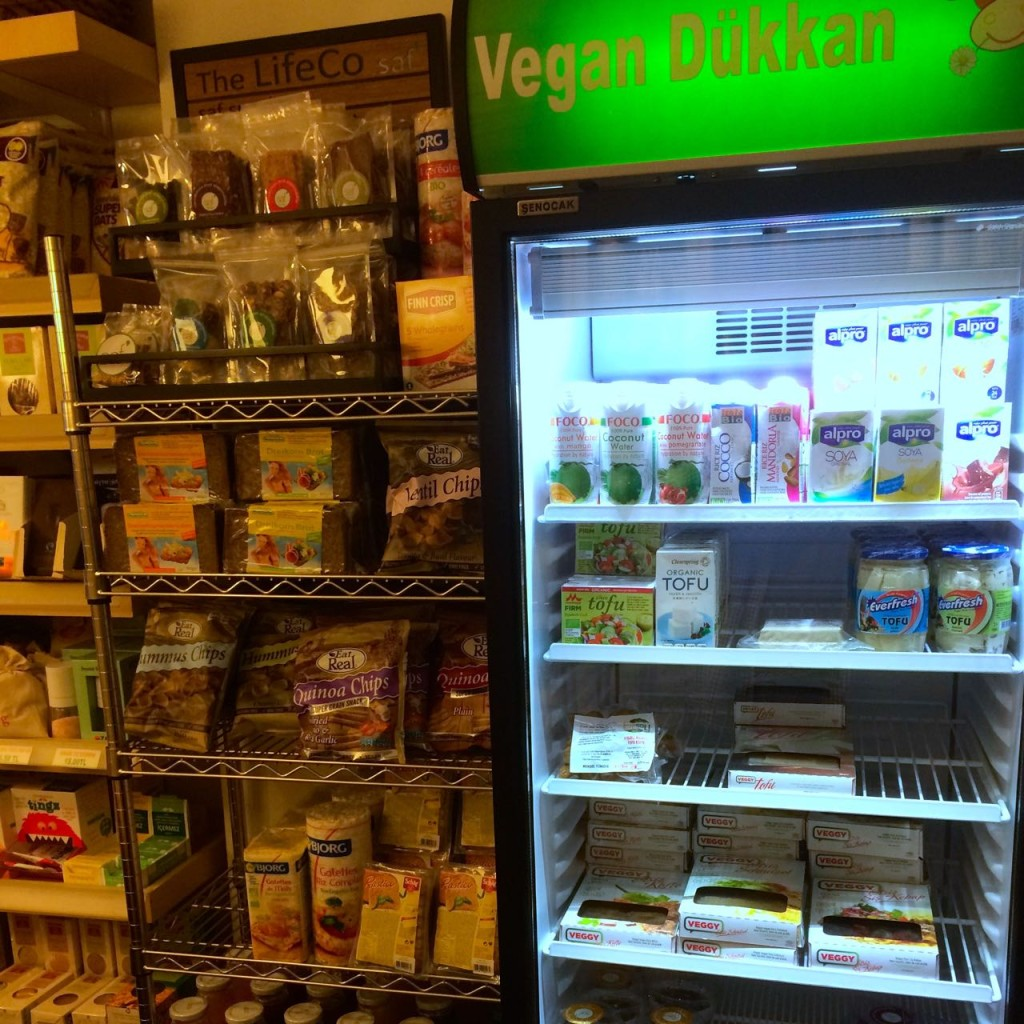 Well-stocked fridge in Vegan Dükkan Istanbul