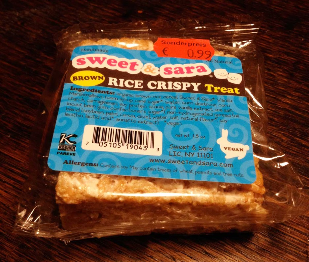 1 Sweet and Sara rice crispy square in packaging