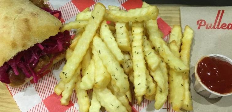 Jackfruit burger and fries