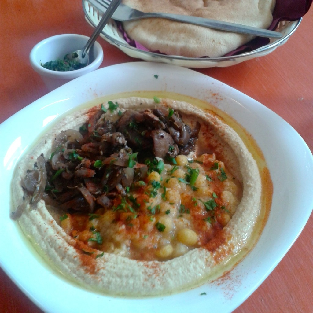 hummus bowl with mushrooms