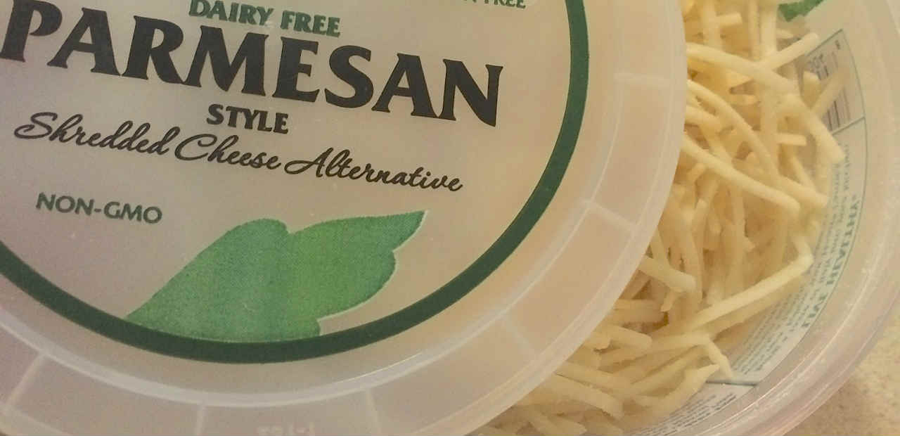 New vegan Parmesan shreds in a tub!