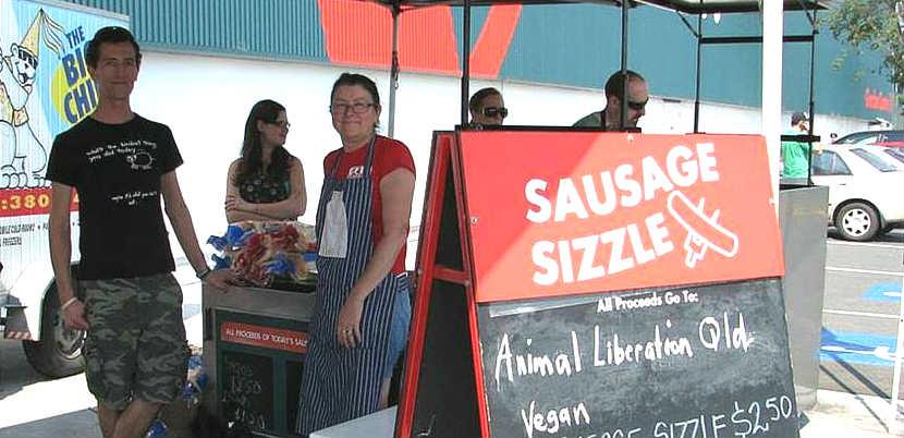 Vegan sausage sizzle