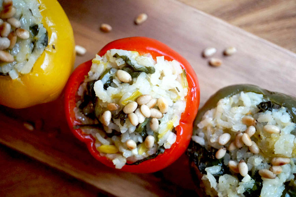 Spinach risotto in peppers