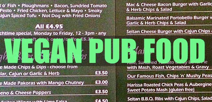 100% vegan pub food menu