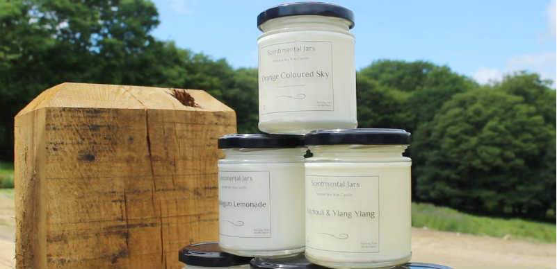 Vegan candles in jars