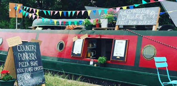 Vegan pizza on a canal boat