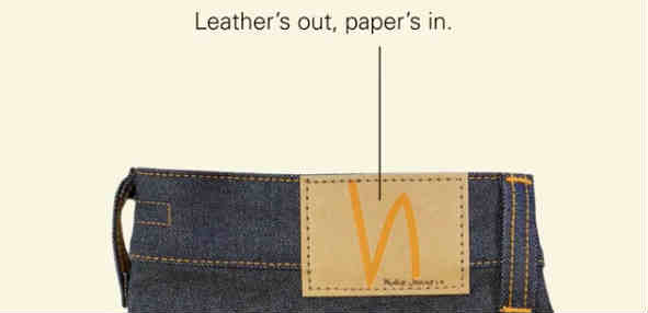 Jeans brand swap leather patches for paper