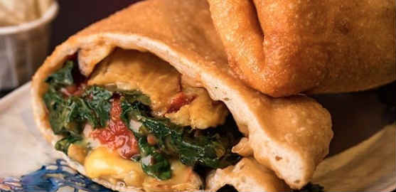 Vegan fried pizza pocket menu