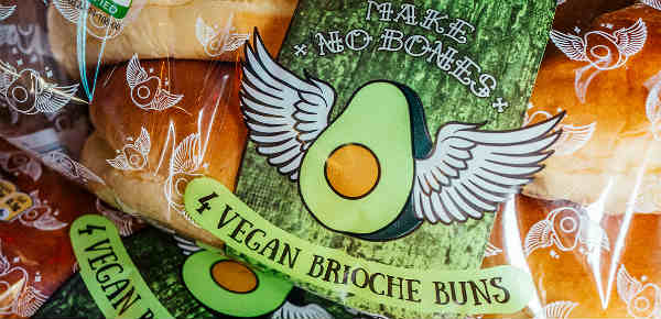 Vegan brioche buns in major UK supermarket